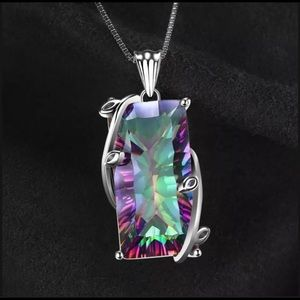 925 Silver Mystic Rainbow Topaz Necklace